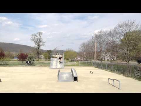 """fat, old dude """"skateboarding"""" at Ryan Roofner Memorial Skatepark, Owego, NY"""