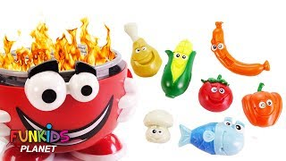 Feeding Mr. Play Doh Head Pretend BBQ Barbecue Playset Hamburger Chicken Corn with Surprise Toys!