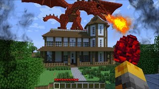 GIANT DRAGON BOSS APPEARS IN MY MINECRAFT HOUSE !! Minecraft Mods
