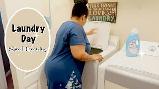 LAUNDRY DAY SPEED CLEANING ROUTINE \ CLEANING MOTIVATON