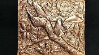 Metal Art Work / Bird Scenery Relief / Metal Embossing /Thank You 100 Subscriber