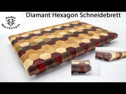 Wie geht das? Diamant Hexagon Schneidebrett aus 6 Holzsorten