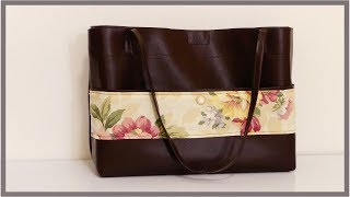 DIY Leather Tote Bag With Floral Accent And Outside Pocket (Very Inexpensive)