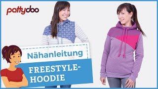 Freestyle Hoodie - Kapuzenpullover mit Teilung/Patchwork aus Sweat nähen