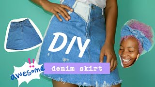 DIY: DENIM SKIRT | HOW TO: BLEACH & DISTRESS A Denim Skirt | THRIFTED Denim Skirt |Phutistyles