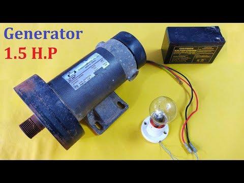 1.5 HP DC Motor to 48V Electric Generator DIY - Amazing Idea 2019