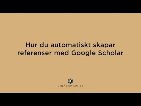 Film: Hur du automatiskt skapar referenser med Google Scholar