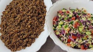 طريقة تحضير مجدرة البرغل مع سلطة الملفوف Quick and Easy Bulgur Mujadara with Cabbage Salad Recipe