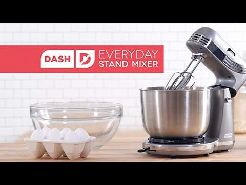 , Dash Stand Mixer 6 Speed Stand Mixer with 3 qt Stainless Steel Mixing Bowl