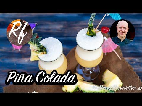 Piña Colada cocktail som är en snäll, exotisk och söt drink som mixas med is, kokos, ananasjuice och rom.>