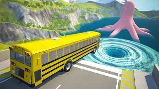 Giant Water Vortex High Speed Jumping Crashes - BeamNG.drive