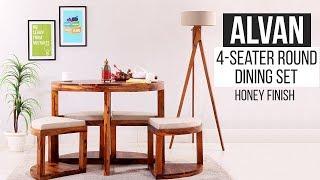 Round Dining Set: Buy Alvan 4 Seater Round Dining Set At Best Price @Wooden Street