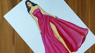 Dress Drawing On A Girl | Fashion Illustration Drawing