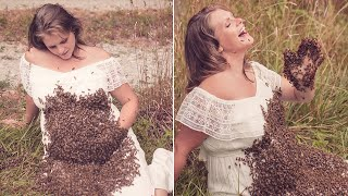 Woman Takes Maternity Photo Shoot With 20,000 Bees All Over Her Baby Bump