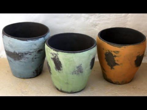 Keramik Becher Shabby Chic
