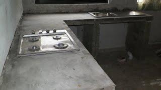 barra de cocina, de cemento, empotrada. remodelacion de cocina. mesada / DIY