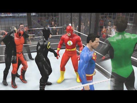 WWE 2K15 - DEATHSTROKE VS DEADPOOL VS BATMAN VS SUPERMAN VS GREEN LANTERN VS FLASH