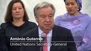 On first day in office, UN Secretary-General flags role of teamwork and multilateralism