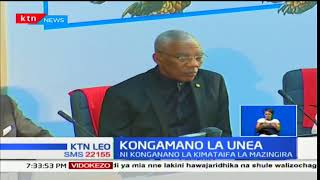 Rais Uhuru Kenyatta azungumuza katika kongamano la UNEA