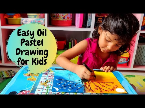 Easy Oil Pastel Drawing for Kids | Day and Night Tree | Oil Pastel Art for Kids