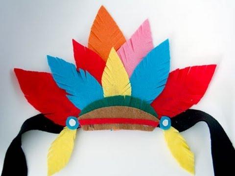Disfraz casero: tocado de plumas de indio