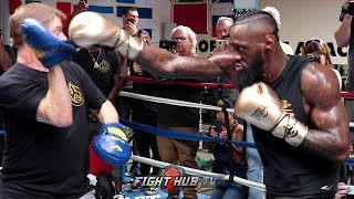 Deontay Wilder works out for December 1 fight vs Tyson Fury