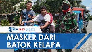 Warga di Sulawesi Selatan Keluar Rumah Pakai Batok Kelapa Lantaran Tak Dapat Masker