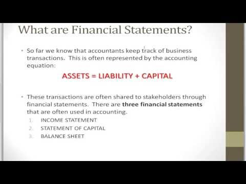 Accounting And Bookkeeping Tutorial Chapter 2 - Financial Statements