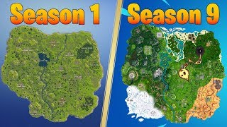 evolution of the fortnite map season 1 season 9 - parapluie fortnite saison 9