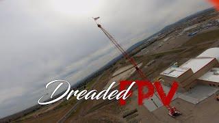 Cinematic style FPV flight around a crane (4K naked Hero 7 GoPro. Protek25)