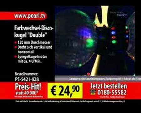 "Farbwechsel-Discokugel ""Double"" m. 20 LEDs, Motor"