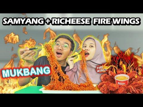 MUKBANG SAMYANG SENAMPAN + RICHEESE FIRE WINGS #dirumahaja