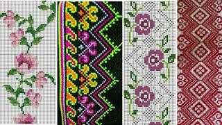 Beautiful Flower Cross Stitch Or Dosuti Design || Cross Stitch For Table, Bedsheet, Mat