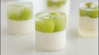 シャインマスカットのヨーグルトムース Green Grape Jelly & Yogurt Mousse*Eggless & Without Oven|HidaMari Cooking