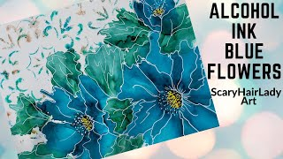 #78  Alcohol Ink Blue Flowers With Stencil / Background Dr. Ph Martins Bombay Ink Painting Tutorial
