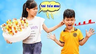 Trò Chơi Bán Kẹo Xiên Và Đứa Trẻ Tinh Nghịch ♥ Min Min TV Minh Khoa