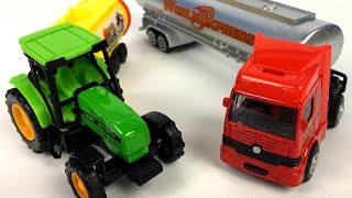 UNBOXING SPEED TRACK TRACTOR WITH TRAILER - HOT SUPER TOP TANKER TRUCK FUN AT FARM JOHN DEERE