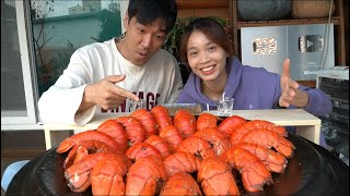 Eating lobster tails fried with butter and garlic beside to a salt, lemon grass sauce!!!!!