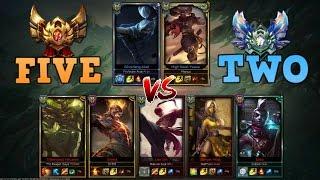 2 Diamond Players vs 5 Gold Players (2v5) - League of Legends