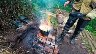 Тайга рыбалка поход изба костер