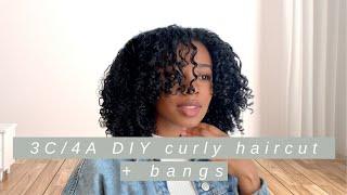 DIY CURLY HAIRCUT ... & cutting bangs?? | 3C/4A trim routine/tutorial | LikeAshleigh