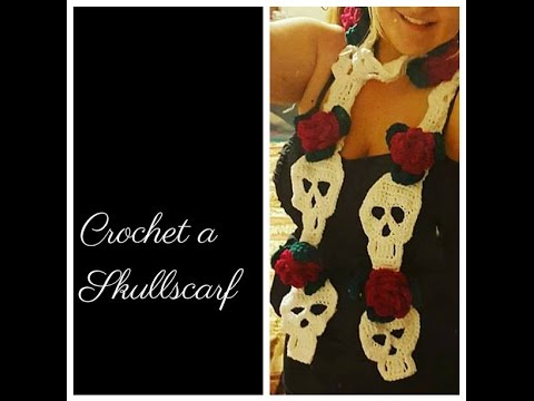 CROCHET - Skull Scarf With Roses *** By Tinkertati