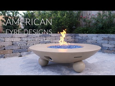 American Fyre Designs Versailles 54-Inch Fire Table With Ball Feet - Cafe Blanco