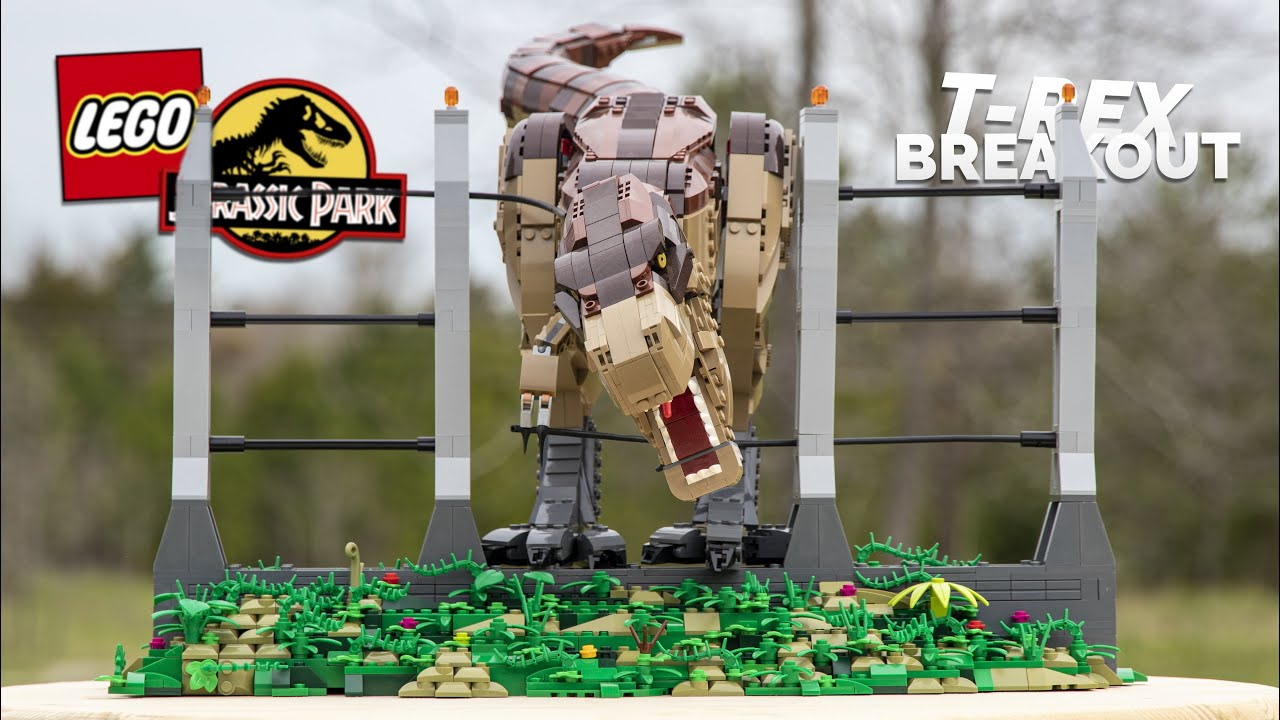 LEGO Jurassic Park T-REX BREAKOUT Scene! // Custom LEGO MOC