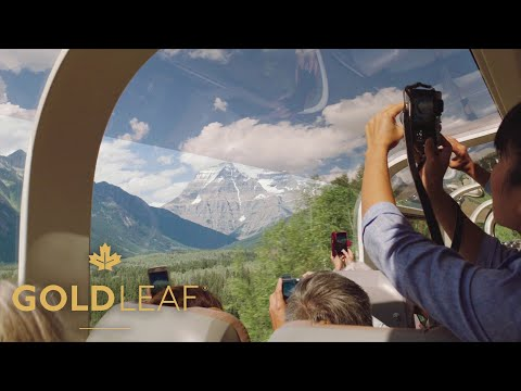 People viewing the Rocky Mountains from the GoldLeaf Service coach