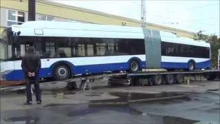 Разгрузка троллейбуса Škoda 27 Tr  г.Рига