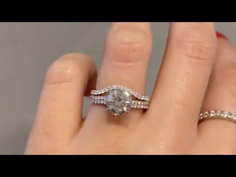 Platinum 2 Carat Round Diamond Solitaire Engagement Ring & Contoured Diamond Band - Hana & Catherine