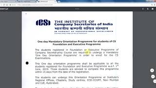 One day mandatory 'Orientation Programme' for of CS Foundation and Executive