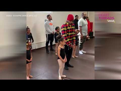 Dads dance with daughters in ballet class