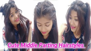 4 CUTE & EASY Hairstyles With Middle Partition | Everyday Hairstyles For Summers || Krrish Sarkar